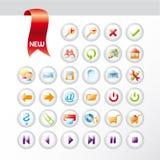 Insieme di nuove icone universali lucide Fotografie Stock Libere da Diritti