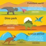 Insieme di orizzontale dell'insegna del parco del dinosauro, stile piano illustrazione di stock