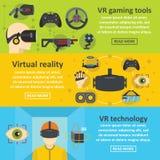 Insieme di orizzontale dell'insegna di realtà virtuale, stile piano illustrazione di stock
