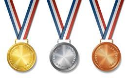 Insieme di oro, argento, medaglie bronzee del premio fotografia stock