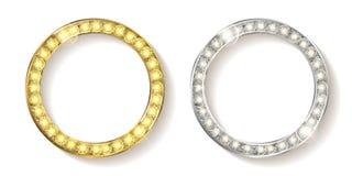 Insieme di oro con la struttura d'argento rotonda Fotografie Stock
