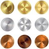 Insieme di oro, di argento e delle medaglie di bronzo Fotografie Stock
