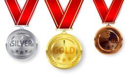 Insieme di oro, di argento e delle medaglie di bronzo Immagini Stock Libere da Diritti