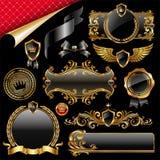 Insieme di oro e degli elementi neri di disegno Immagine Stock Libera da Diritti