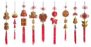 Insieme di oro e della decorazione cinese rossa del nuovo anno isolati su briciolo Fotografia Stock