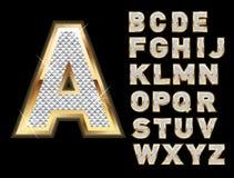 Insieme di oro e delle lettere bling Fotografie Stock Libere da Diritti