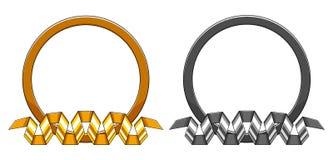 Insieme di oro rotondo decorativo e del telaio d'argento con il nastro curvo di spirale del basso Illustrazione di vettore illustrazione vettoriale