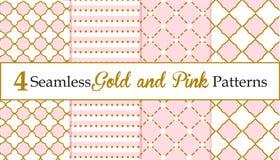 Insieme di oro senza cuciture e dei modelli rosa Modelli della neonata Fotografia Stock Libera da Diritti