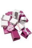 Insieme di Packshot di parecchi pacchetti del regalo Fotografie Stock