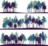 Insieme di paesaggio differente con i pini Fotografia Stock Libera da Diritti