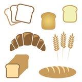 Insieme di pane bianco, icone del forno Fotografia Stock Libera da Diritti