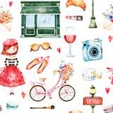 Insieme di Parigi dell'acquerello illustrazione di stock