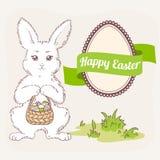 Insieme di Pasqua Coniglietto bianco con il canestro, l'etichetta dell'uovo ed il nastro Fotografia Stock Libera da Diritti