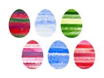 Insieme di Pasqua delle uova colorate acquerello Fotografie Stock Libere da Diritti