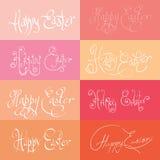 Insieme di Pasqua felice typograhy disegnata a mano Fotografia Stock