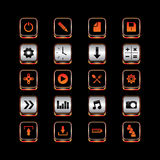 Insieme di piastra metallica del bottone dell'icona di tema Immagini Stock Libere da Diritti