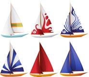 Insieme di piccole barche di navigazione Immagine Stock