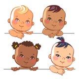 Insieme di piccole neonate sveglie Fotografia Stock