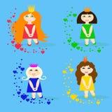 Insieme di piccole principesse con i cuori illustrazione di stock