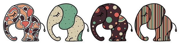 Insieme di piccolo elefante sveglio con gli ornamenti Illustrazione variopinta per la carta, gli autoadesivi e la stampa Fotografia Stock