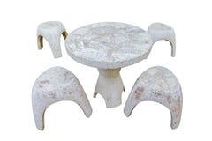 Insieme di pietra della tavola isolato su fondo bianco, percorso di ritaglio Fotografia Stock