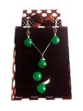 Insieme di pietra verde del gioiello immagine stock