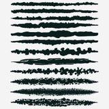 Insieme di pittura nera, colpi della spazzola dell'inchiostro illustrazione di stock