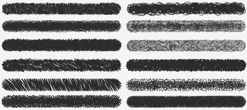 Insieme di pittura nera, colpi della spazzola dell'inchiostro Immagini Stock Libere da Diritti