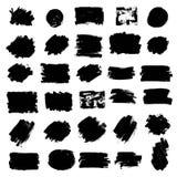Insieme di pittura nera, colpi della spazzola dell'inchiostro, spazzole, linee, cerchio Fotografia Stock