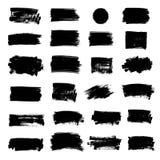 Insieme di pittura nera, colpi della spazzola dell'inchiostro, spazzole, linee, cerchio Immagine Stock