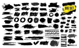 Insieme di pittura nera, colpi della spazzola dell'inchiostro, spazzole, linee, grungy Elementi artistici sporchi di progettazion Fotografia Stock
