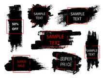 Insieme di pittura nera, dei colpi della spazzola dell'inchiostro e delle forme geometriche Elementi creativi di progettazione Po Immagine Stock