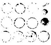 Insieme di pittura nera, inchiostro, lerciume, colpi sporchi della spazzola insieme del nero della spruzzata Immagini Stock
