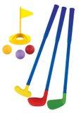 Insieme di plastica del giocattolo di golf isolato Immagine Stock