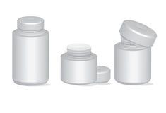 Insieme di plastica di vettore del contenitore delle bottiglie della farmacia della pillola Immagine Stock