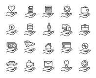Insieme di premio della linea icone di assicurazione illustrazione vettoriale
