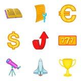 Insieme di preparazione dell'icona di economia, stile del fumetto illustrazione di stock