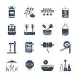 Insieme di produzione delle bevande e delle bevande delle icone Fotografie Stock