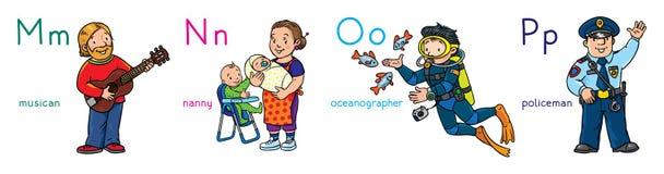 Insieme di professioni di ABC Musicista, babysitter, poliziotto, oceanografo illustrazione di stock