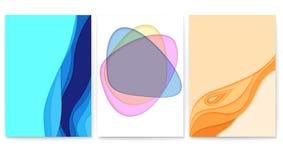 Insieme di progettazione astratta del taglio della carta con i multi strati Disposizione di vettore con le forme di carta tagliat illustrazione vettoriale