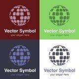 Insieme di progettazione bianca verde, rossa, blu e nera astratta del globo di logo, degli emblemi per collegamento a Internet o  Immagini Stock Libere da Diritti