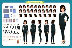 Insieme di progettazione di carattere della donna di affari Parte anteriore, lato, carattere animato di vista posteriore Stile de royalty illustrazione gratis