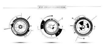 Insieme di progettazione circolare dell'elemento del hud di concetto di comunicazione di tecnologia digitale illustrazione di stock