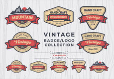 Insieme di progettazione d'annata logo/del distintivo, retro progettazione del distintivo per il logo Fotografia Stock