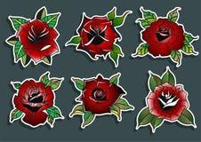 Insieme di progettazione del tatuaggio delle rose rosse Illustrazione di Stock