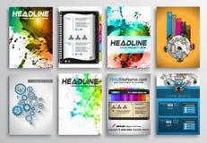 Insieme di progettazione dell'aletta di filatoio, Infographics Progettazioni dell'opuscolo Fotografia Stock