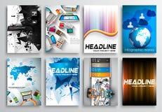 Insieme di progettazione dell'aletta di filatoio, Infographics Progettazioni dell'opuscolo Fotografie Stock