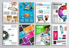 Insieme di progettazione dell'aletta di filatoio, Infographics Progettazioni dell'opuscolo, ambiti di provenienza di tecnologia Fotografie Stock Libere da Diritti