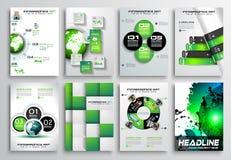 Insieme di progettazione dell'aletta di filatoio, Infographics Progettazioni dell'opuscolo, ambiti di provenienza di tecnologia Immagine Stock Libera da Diritti