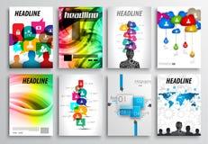 Insieme di progettazione dell'aletta di filatoio, modelli Web Progettazioni dell'opuscolo, ambiti di provenienza di tecnologia illustrazione vettoriale